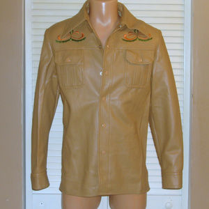 Vintage 70s Tan Vinyl Embroidered Shirt Jacket